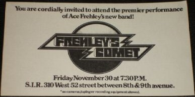 Ticket from Frehley's Comet New York, USA 30 November 1984 show