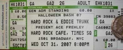 Ticket from New York, USA 31 October 2007 show