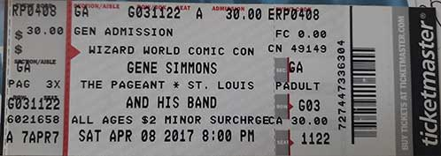 Ticket from Gene Simmons Solo St. Louis, MO, USA 08 April 2017 show