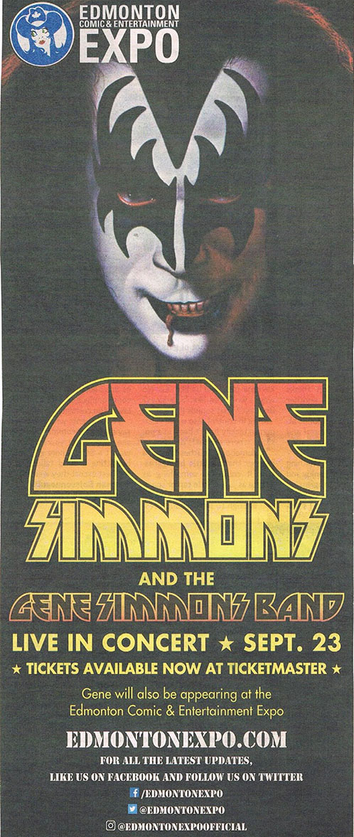 Poster from Gene Simmons Band Edmonton, Canada 23 September 2017 show