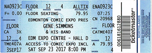 Ticket from Gene Simmons Band Edmonton, Canada 23 September 2017 show