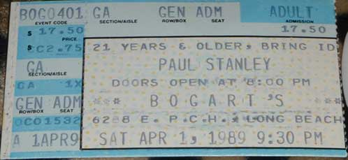 Ticket from Paul Stanley Long Beach, CA, USA 01 April 1989 show