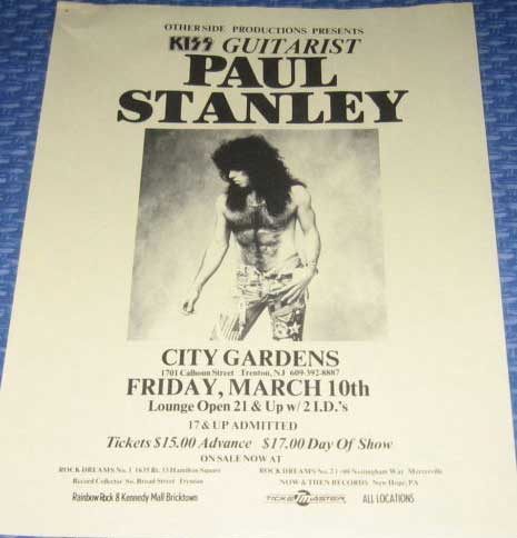 Poster from Paul Stanley Trenton, NJ, USA 10 March 1989 show