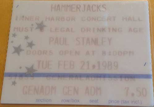 Ticket from Paul Stanley Solo Baltimore, MD, USA 21 February 1989 show