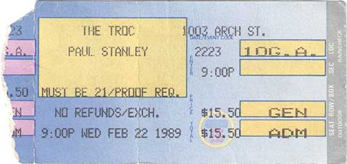 Ticket from Paul Stanley Solo Philadelphia, PA, USA 22 February 1989 show