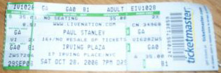 Ticket from 28 October 2006 show New York, USA